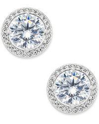 Danori - Silver-tone Cubic Zirconia Framed Stud Earrings - Lyst