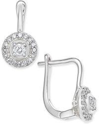 Macy's - Diamond Circle Leverback Earrings (1/5 Ct. T.w.) In 14k White Gold - Lyst