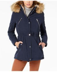 Nautica - Faux-fur-trim Hooded Anorak - Lyst