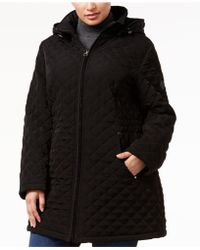 Laundry by Shelli Segal | Plus Size Hooded Quilted Coat | Lyst