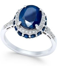 Macy's - Blue Sapphire (4 Ct. T.w.) And White Sapphire (1/3 Ct. T.w.) Oval Ring In 10k White Gold - Lyst