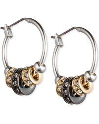 Nine West - Tri-tone Slider Hoop Earrings - Lyst