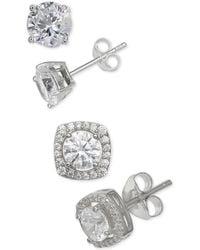 Giani Bernini - 2-pc. Set Cubic Zirconia Stud Earrings In Sterling Silver, Created For Macy's - Lyst