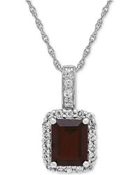 Macy's - Rhodolite Garnet (2-3/4 Ct. T.w.) & White Topaz (5/8 Ct. T.w.) Pendant Necklace In Sterling Silver - Lyst