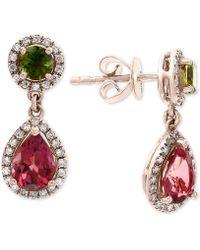 Effy Collection - Effy® Multi-tourmaline (2-1/5 Ct. T.w.) & Diamond (1/4 Ct. T.w.) Drop Earrings In 14k Rose Gold - Lyst