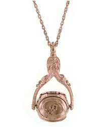 """2028 - Rose Gold-tone 3-sided Spinner Locket Necklace 30"""" - Lyst"""