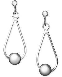 Giani Bernini - Sterling Silver Earrings, Center Bead Teardrop Earrings - Lyst