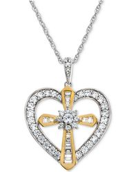Macy's - Lab-created White Sapphire Heart & Cross Pendant Necklace (5/8 Ct. T.w.) In Sterling Silver & 14k Gold - Lyst