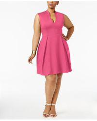 Soprano - Trendy Plus Size Pleated Fit & Flare Dress - Lyst