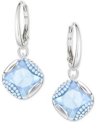Swarovski - Silver-tone Pavé & Blue Crystal Drop Earrings - Lyst