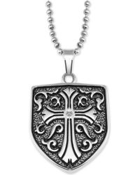 "Macy's - Cross Shield 24"" Pendant Necklace In Stainless Steel - Lyst"
