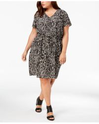 Eileen Fisher - Plus Size Silk Printed Dress - Lyst