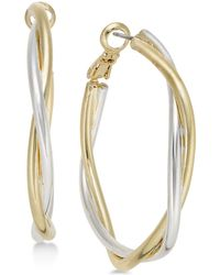 Charter Club - Two-tone Twisted Hoop Earrings, Created For Macy's - Lyst