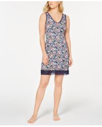 Sesoire - Flower-print Lace-trim Nightgown - Lyst