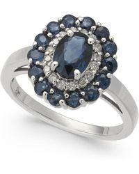 Macy's - Sapphire (2-1/8 Ct. T.w.) & Diamond (1/6 Ct. T.w.) Ring In 14k White Gold - Lyst