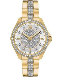 Bulova - Women's Gold-tone Stainless Steel & Crystal Bracelet Watch 35mm - Lyst