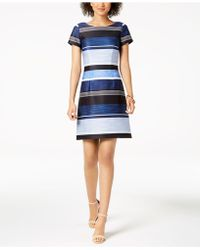 Adrianna Papell - Striped Dress - Lyst
