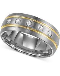 Triton | Men's Diamond Stripe Wedding Band In Tungsten Carbide (1/6 Ct. T.w.) | Lyst