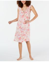 Miss Elaine - Flutter-sleeve Printed Nightgown - Lyst