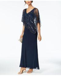 J Kara - Beaded V-neck Illusion-overlay Gown - Lyst