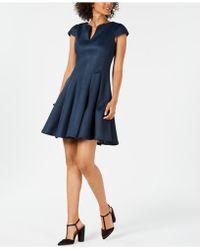 Julia Jordan - Cap-sleeve Mesh Fit & Flare Dress - Lyst