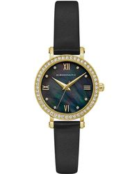 BCBGMAXAZRIA - Bcbg Maxazria Ladies Black Leather Strap Watch With Dark Mop Dial, 30mm - Lyst