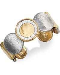 Macy's - Lira Coin Cuff Bracelet In 14k Gold Vermeil And Sterling Silver - Lyst