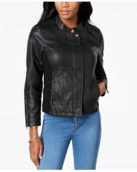 Style & Co. | Faux-leather Knit-contrast Jacket | Lyst