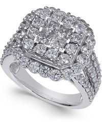 Macy's - Diamond Cluster Ring (3 Ct. T.w.) In 14k White Gold - Lyst