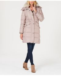 London Fog - Faux-fur-trim Hooded Puffer Coat - Lyst
