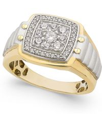 Macy's | Men's Diamond Two-tone Cluster Ring (3/4 Ct. T.w.) In 10k Gold And White Gold | Lyst