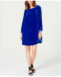 Eileen Fisher - Velvet Bateau-neck Shift Dress - Lyst