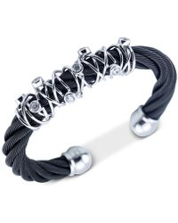 Charriol - White Topaz Wrapped Cable Bangle Bracelet (1-9/10 Ct. T.w.) In Black Pvd Stainless Steel - Lyst