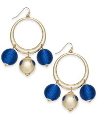 """INC International Concepts - I.n.c. Extra Large 2.5"""" Gold-tone Wrapped Ball Drop Hoop Earrings, Created For Macy's - Lyst"""
