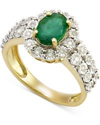 Macy's - Emerald (1 Ct. T.w.) And Diamond (1/4 Ct. T.w.) Ring In 14k Gold - Lyst
