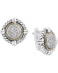 Effy Collection - Balissima By Effy® Diamond Cluster Stud Earrings (1/4 Ct. T.w.) In Sterling Silver & 18k Gold - Lyst