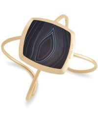 Michael Kors - Gold-tone Stainless Steel Black Stone Open Cuff Bracelet - Lyst