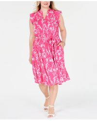 Charter Club - Plus Size Belted Floral-print Dress, Created For Macy's - Lyst