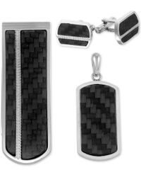 Macy's - 3-pc. Set Carbon Fiber Dog Tag Pendant Necklace, Cuff Links & Money Clip In Stainless Steel - Lyst