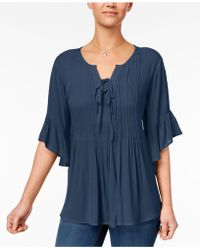 Style & Co. - Petite Pintucked Peasant Top, Created For Macy's - Lyst