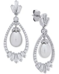 Arabella - Cultured Freshwater Pearl (7mm) & Swarovski Zirconia Orbital Drop Earrings In Sterling Silver - Lyst