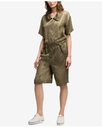 DKNY - Hammered Satin Short Jumpsuit, Created For Macy's - Lyst