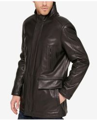 Cole Haan - Men's Leather Knit-collar Car Coat - Lyst