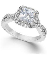 Marchesa - Certified Diamond Twist Shank Ring In 18k White Gold (1-1/2 Ct. T.w.) - Lyst