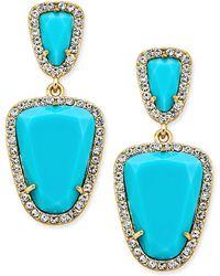 ABS By Allen Schwartz - Gold-tone Blue Stone Double-drop Earrings - Lyst