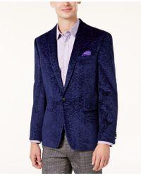Ben Sherman - Men's Slim-fit Purple Textured Velvet Dinner Jacket - Lyst