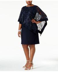 R & M Richards - Plus Size Sequined Lace Cape Dress - Lyst