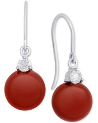 Macy's - Rose Quartz (8mm) & Cubic Zirconia Drop Earrings In Sterling Silver (also In Dyed Jade, Onyx & Red Agate) - Lyst