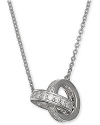 """Giani Bernini - Cubic Zirconia Interlocking Rings 18"""" Pendant Necklace In Sterling Silver, Created For Macy's - Lyst"""