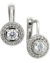 Macy's - Diamond Halo Leverback Earrings (1/2 Ct. T.w.) In 14k White Or Yellow Gold - Lyst
